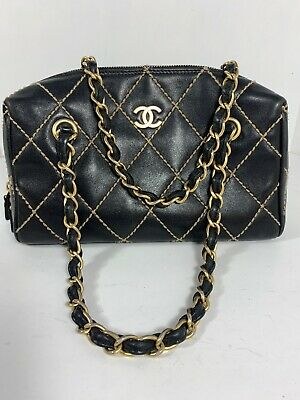 Auth CHANEL Black Calfskin Leather Wild Stitch CC Charm Shoulder Tote Bag a92a8c3f75967