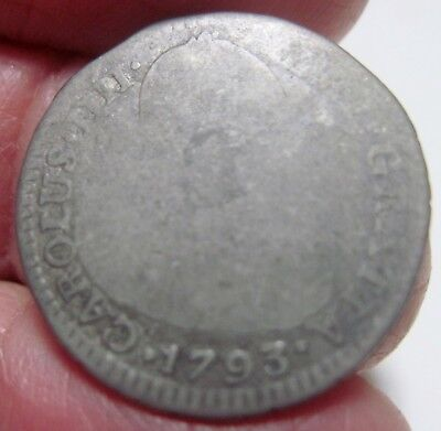 (1793 Nr-Jj ) Colombia (1 Real) Silver -Very Rare Type Bust  -New Reino-
