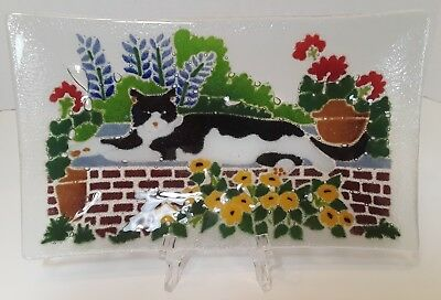 Peggy Karr Fused Glass Small Tray with Cat on Brick Wall & Flowers Design