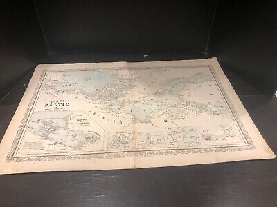 Rare Antique Charles Desilver 1856 Short Of The Baltic London To Russia Map
