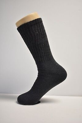 3-6-12 Pr Mid-Weight Athletic Sports Cotton Crew Socks Charcoal Mens Size 10-13