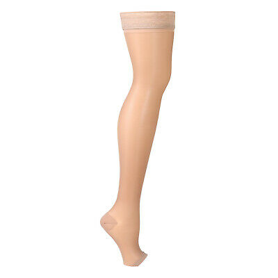 Support Plus Women's Moderate Compression Hose - Thigh High Open Toe Stockings