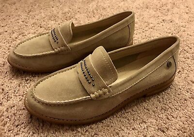 Hush Puppies Shoes Womens Sz 8 Suede Leather Slip Ons Loafers