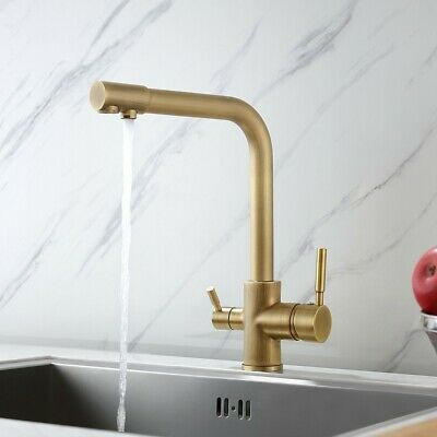 Antique Brass Kitchen Faucet with Water Filtering Spout  Washing Filler Sink Tap