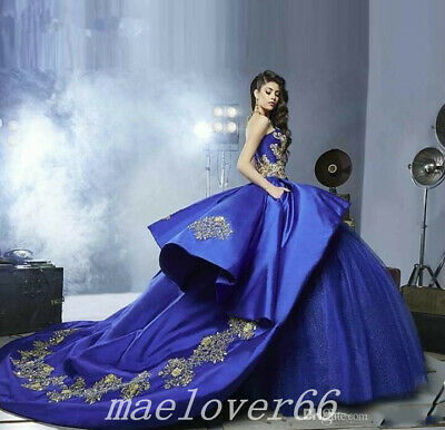 49c33773355 Blue Luxury Ball Gown Gold Embroidery Quinceanera Dresses prom Sweet 16  Custom