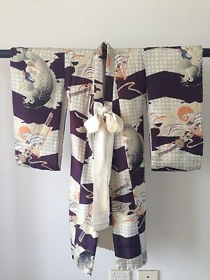 Vintage Child's Vintage Decorative Silk Japanese Padded Kimono Costume Robe