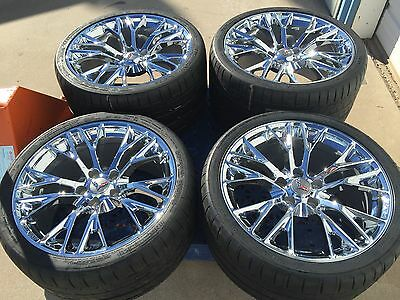 "19"" 20"" Inch Staggered OEM Z06 Chrome Corvette Wheels Rims Michelin Tires Set"