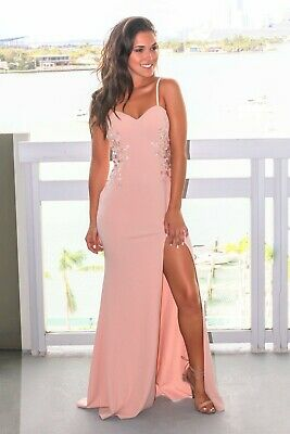 f0857eac51c NEW Saved by the dress M Blush Embroidered Sleeveless Maxi Dress with Side  Slit