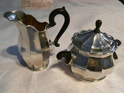 Art Deco Sugar Bowl and Cream Jug Silver 800 Er German um 1910