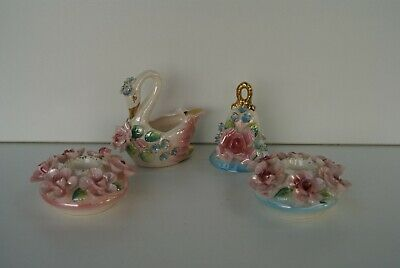 Vintage Shabby Chic Luster Candle Holders Swan & Bell Japan Kitsch Flowers