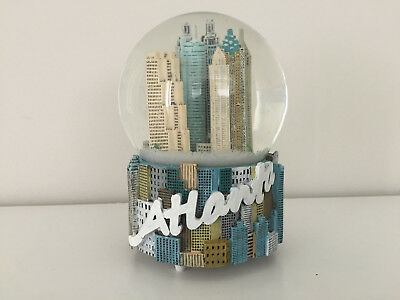 Rare ATLANTA Snow Globe Dome Musical Snowdome Music Box Water Skyline Snowglobe