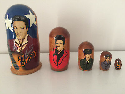 ELVIS PRESLEY Wooden 5 x Russian Nesting Dolls Babushka Collectables Collectible