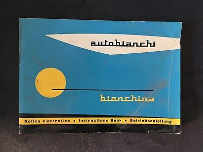 Autobianchi Bianchina Dueposti instructions book, betriebsanleitung, libretto