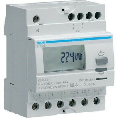 Hager KILOWATT-HOUR METER HAGEC350 230V 50-60Hz 10-63A 3-Phase Direct Connection
