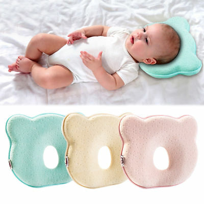 Cute Baby Infant Pillow Memory Foam Prevent Flat Head Anti Roll Baby Care HOT