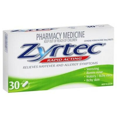 Zyrtec Cetirizine 10mg Pack Of 30 Tablets Cheapest Price