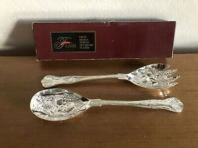 Flair - Boxed Silverplated Berry Spoons - 23 Long - Silver Plate