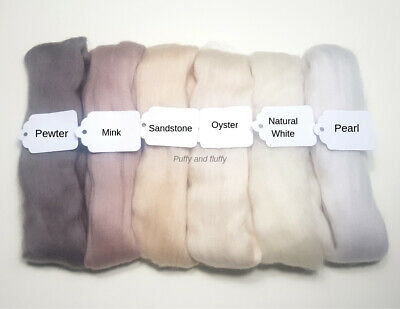 NEUTRAL COLOUR MIX 100% MERINO WOOL TOPS 60g-120g spinning needle felting roving
