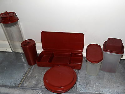 Collection Vintage Red Tupperware Sewing Box Pasta Pick a Deli Drink Bottle MORE