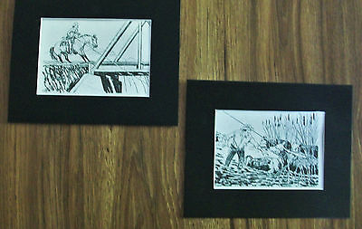 Print Horse Rescue Cattle Cowgirl Cowboy R Lougheed 1976 8x10 Bookplates Matted