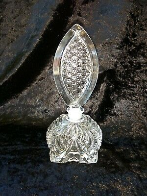 Gorgeous Vintage Czech ART DECO clear crystal glass perfume bottle