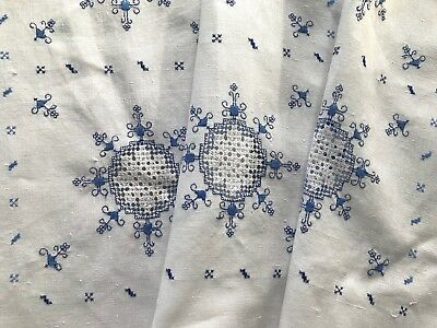 Antique Linen Afternoon Tea Tablecloth Needlework Drawn-Thread, Hand-Embroid