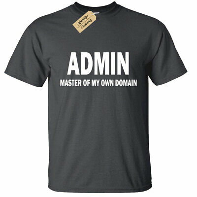 KIDS BOYS GIRLS ADMIN Master of my own domain T Shirt funny geek nerd computer