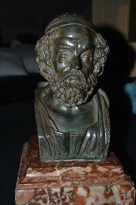 A 19TH CENTURY ITALIAN GRAND TOUR BUST OF HOMER modelled upon veined marble
