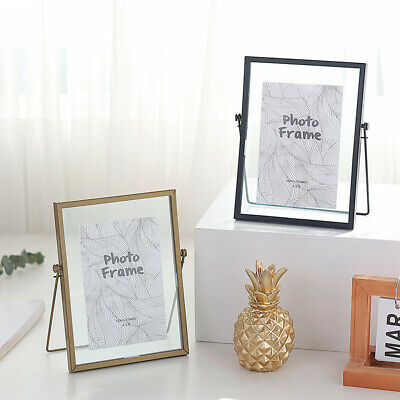 Ins Style Metal Glass Double Sided Desk Photo Picture Frame Vintage Art Craft