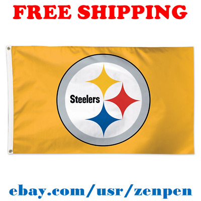 cf124ed2 DELUXE PITTSBURGH STEELERS Team Logo Flag Banner 3x5 ft NFL Football 2019  NEW