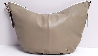 Halston Heritage Satchel Large Smooth Leather Hobo Handbag (Beige Putty) ff3297361cf6b