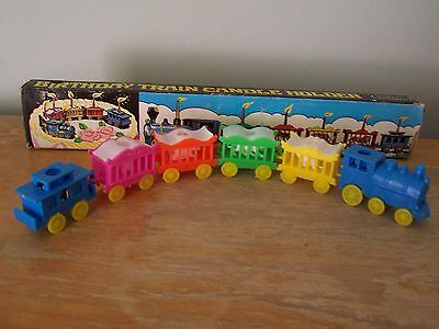 Vintage Plastic Circus Train Birthday Candle Holder Cake Topper