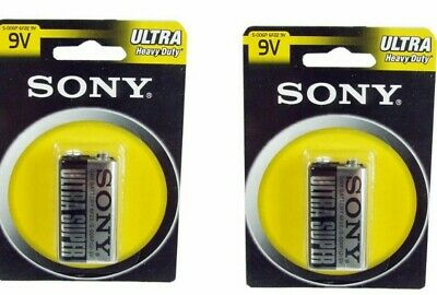9v Battery x 2 SONY ULTRA HEAVY DUTY 9V BATTERYS Twin PACK
