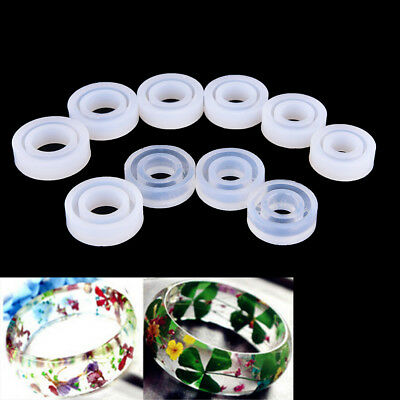Transparent DIY Silicon Round Ring Mold Mould Jewelry Making Tool Resin molUULK