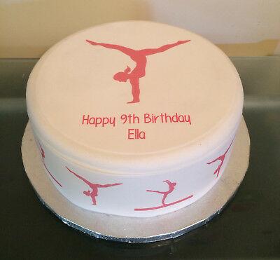 a59ea2110b75 Personalised Gymnastics Gymnast 09 pre-cut Edible Icing Cake Topper or  Ribbon