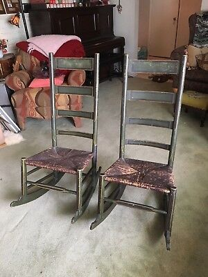 Ladder Back Rush Seats Rocking Chair Pair, French Country, PAINTED, Antique!