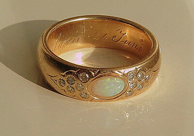 Antik Ring Opal, Diamanten, Rosegold, Amtspunze 1872-1922