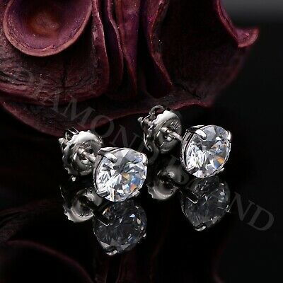 2Ct Solid White Gold Created Diamond Earrings 14K Round ScrewBack Studs Basket