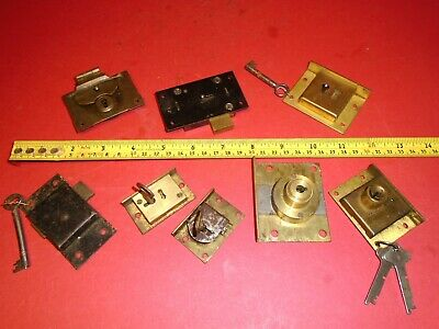 Vintage Locks, a job lot, 8 units some with keys.