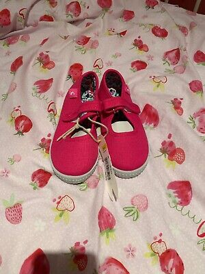 Joules Girls Goodway Pink Canvas Pumps / Plimsolls, Size 12 - Brand New