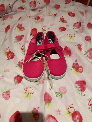Joules Girls Goodway Pink Canvas Pumps / Plimsolls, Size 10 - Brand New