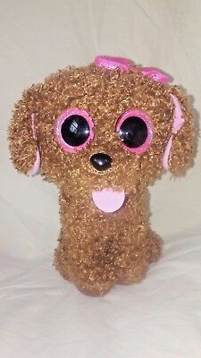 c2304a58f91 Ty Beanie Boo Maddie Dog Brown with Pink Bow Sparkly Eyes Medium 9 inches  Tall