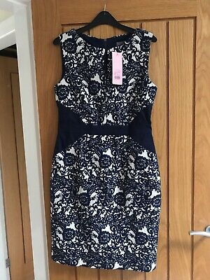 Brand New with tags Phase Eight Annie Jacquard navy ivory dress Size 12 4da9ee5ff