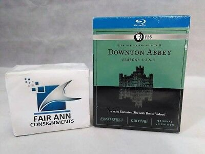 Downton Abbey Season 1-3 Blu-Ray Masterpiece Deluxe Edition 9-Disc Set Brand New