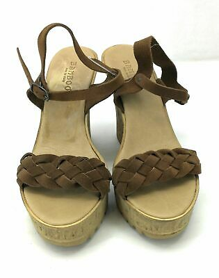 4ae16ef5304 Bamboo Womens Wedge Heel Sandals Ankle Strap Brown 4.5