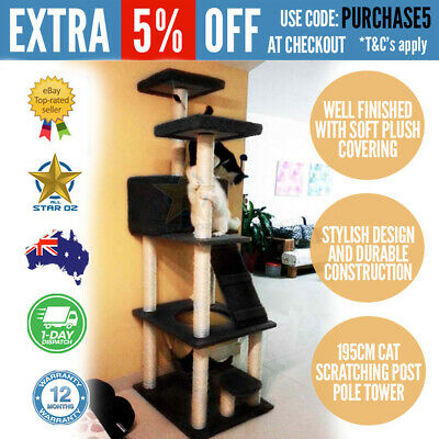 Cat Scratching Post Pole 195cm Tall Furniture Tower Tree with Hammock Black