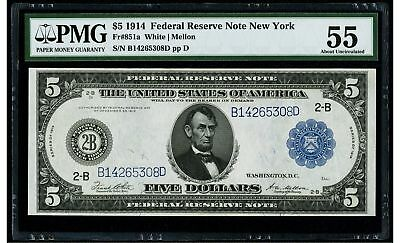 $5 1914 Federal Reserve Note New York PMG 55 About Uncirculated