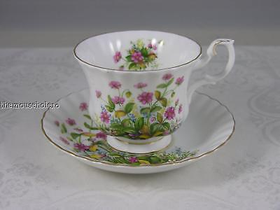 Royal Albert Sunnyside Series Michele footed teacup & saucer w pink flowers gold