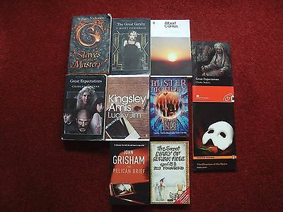 x10 Books Bundle Outsider Gt Gatsby Adrian Mole Pelican Brief Lucky Jim P Opera