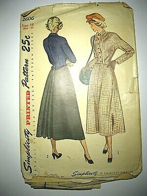 Vtg 1940s Simplicity Sewing Pattern 2606 Juniors, Misses 2-Piece Suit with Skirt